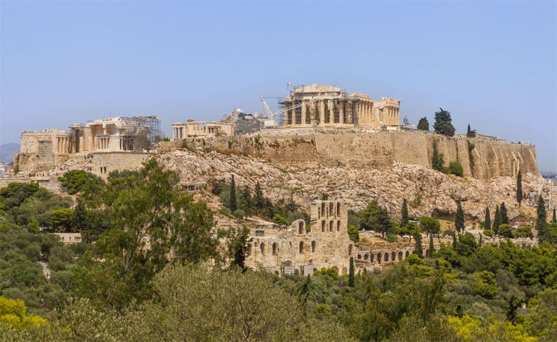 Вид на Афинский Акрополь с холма Филопаппос