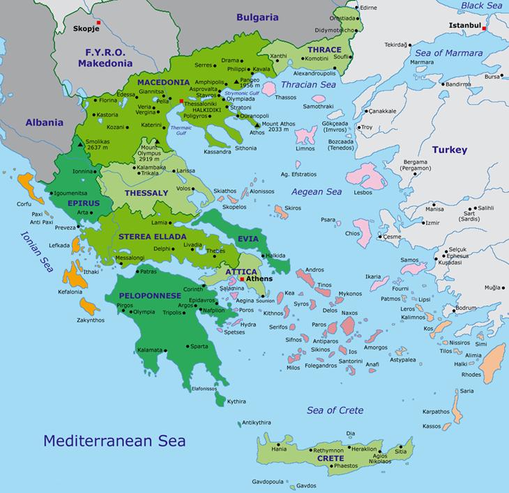 Карта административного деления Греции