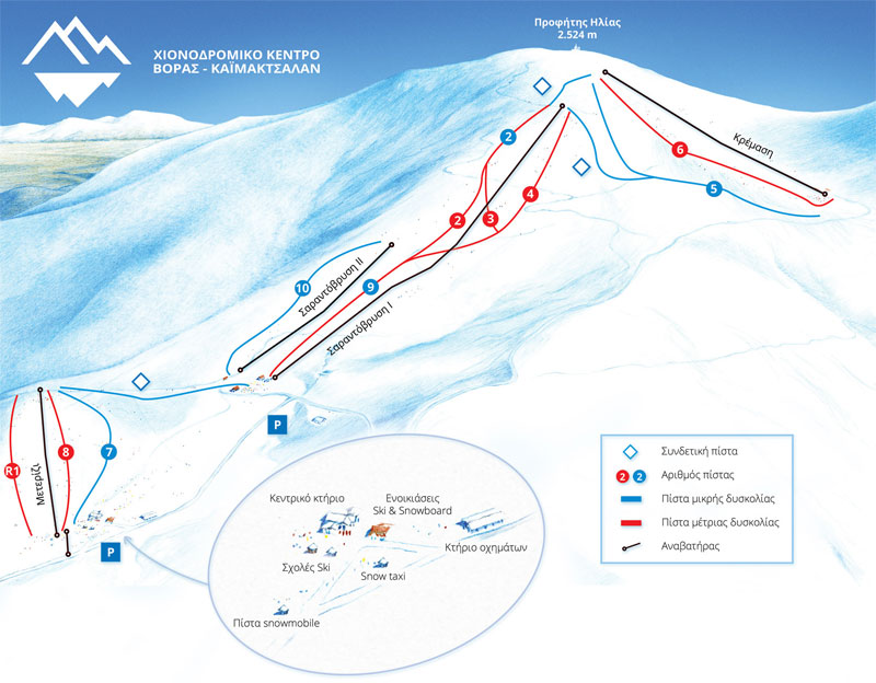 План-схема трасс горнолыжного центра Каймакцалан